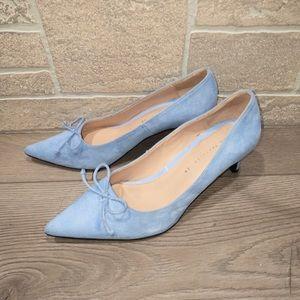 Zara Trafaluc Blue Suede Bow Kitten Heels
